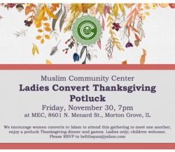 Ladies Convert Thanksgiving Potluck on Fri, Nov 30th 7pm at MEC